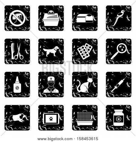Veterinary set icons in grunge style isolated on white background. Vector illustration