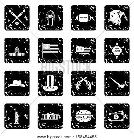 USA set icons in grunge style isolated on white background. Vector illustration