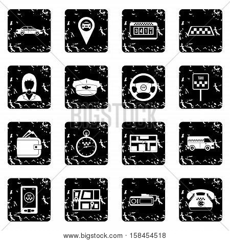 Taxi set icons in grunge style isolated on white background. Vector illustration