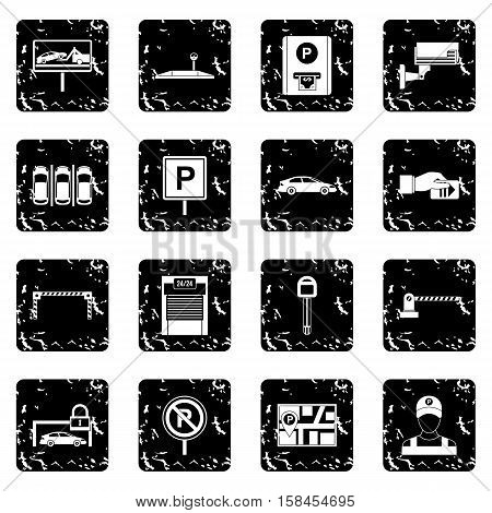 Car parking set icons in grunge style isolated on white background. Vector illustration