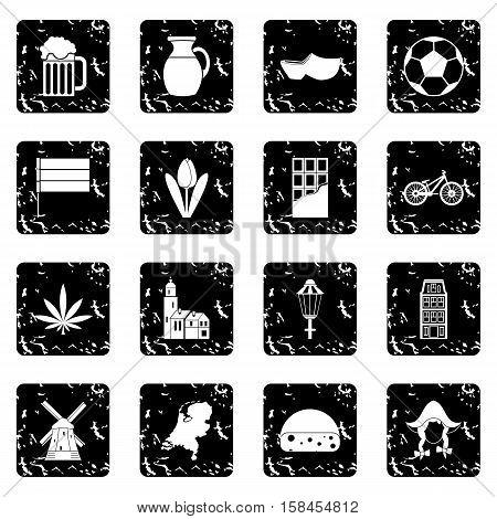 Netherlands set icons in grunge style isolated on white background. Vector illustration