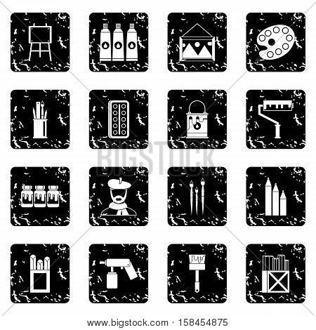 Painting set icons in grunge style isolated on white background. Vector illustration