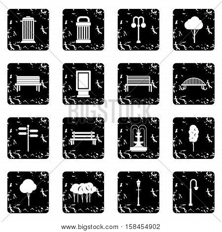 Hangar set icons in grunge style isolated on white background. Vector illustration