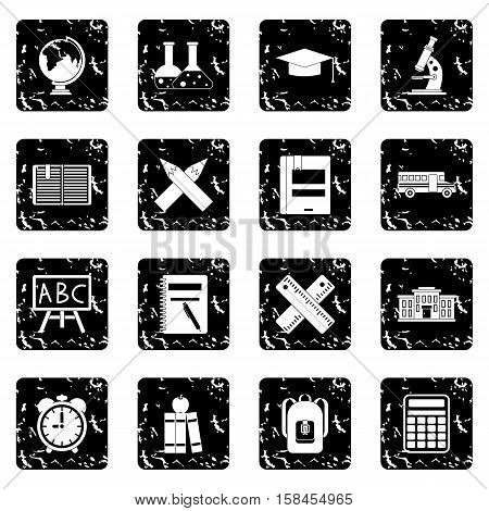 School set icons in grunge style isolated on white background. Vector illustration