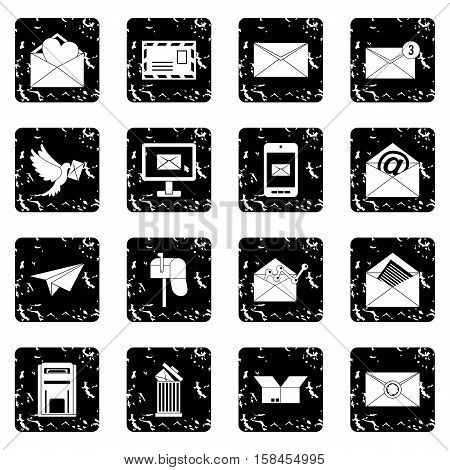 Email set icons in grunge style isolated on white background. Vector illustration