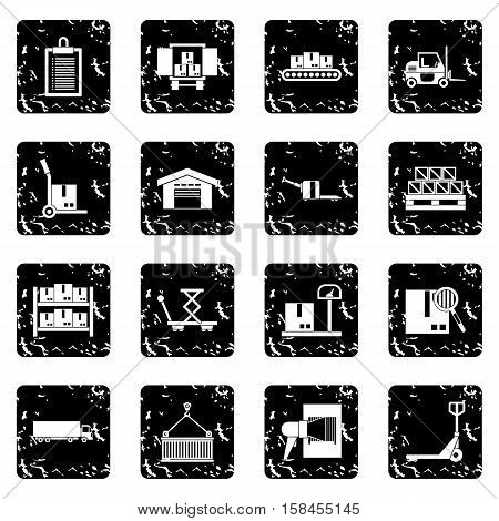 Logistic set icons in grunge style isolated on white background. Vector illustration