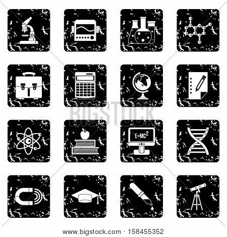 Education set icons in grunge style isolated on white background. Vector illustration