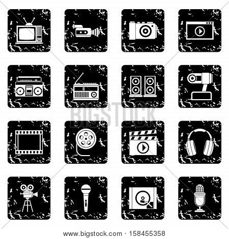 Audio and video set icons in grunge style isolated on white background. Vector illustration