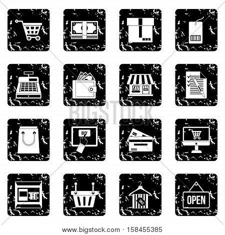 Surfing set icons in grunge style isolated on white background. Vector illustration