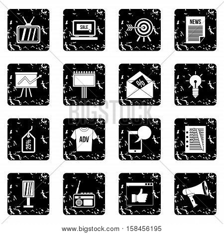 Advertisement set icons in grunge style isolated on white background. Vector illustration