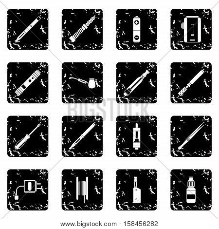 Vaping set icons in grunge style isolated on white background. Vector illustration