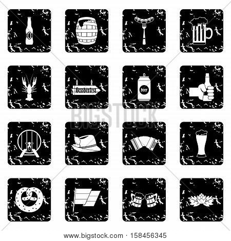 Oktoberfest icons set icons in grunge style isolated on white background. Vector illustration