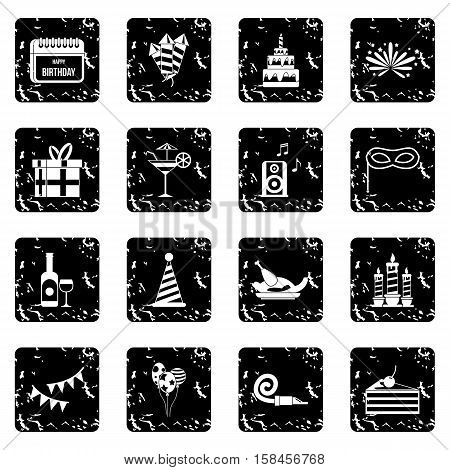 Happy Birthday icons set icons in grunge style isolated on white background. Vector illustration