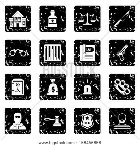 Crime and punishment icons set icons in grunge style isolated on white background. Vector illustration