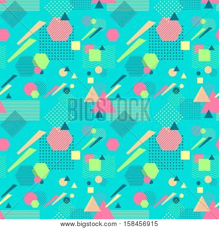 Abstract seamless pattern from geometric form in postmodern Memphis Style on blue background for wallpaper or package or for clothes for decoration childish school subject or for creative design