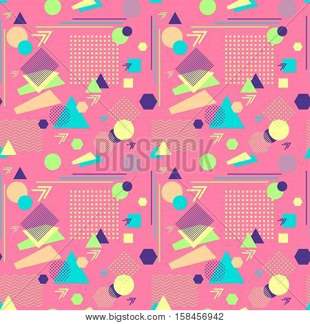 Abstract seamless pattern from geometric form in postmodern Memphis Style on pink background for wallpaper or package or for clothes for decoration childish school subject or for creative design poster
