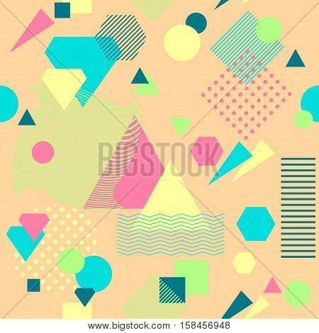 Abstract seamless pattern from geometric form in postmodern Memphis Style on beige background for wallpaper or package or for clothes for decoration childish school subject or for creative design