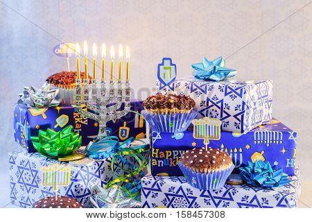 Jewish Holiday Hanukkah With Menorah Traditional