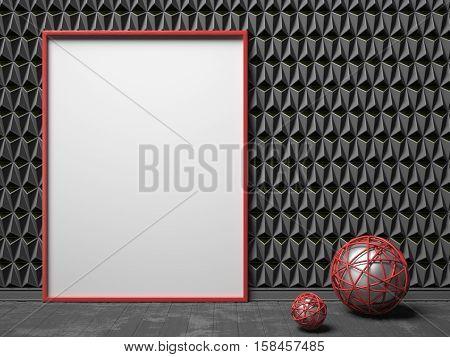Blank picture frame on black triangulated background. Mock up render illustration