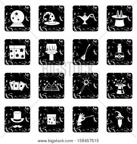 Magic icons set icons in grunge style isolated on white background. Vector illustration