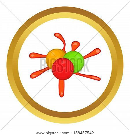 Colorful paintball blob vector icon in golden circle, cartoon style isolated on white background