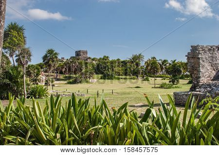 Ancient Ruins at Tulum Mexico Multiple Buildings