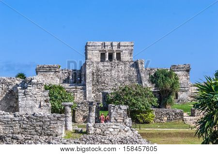Ancient Ruins at Tulum Mexico Temple Building