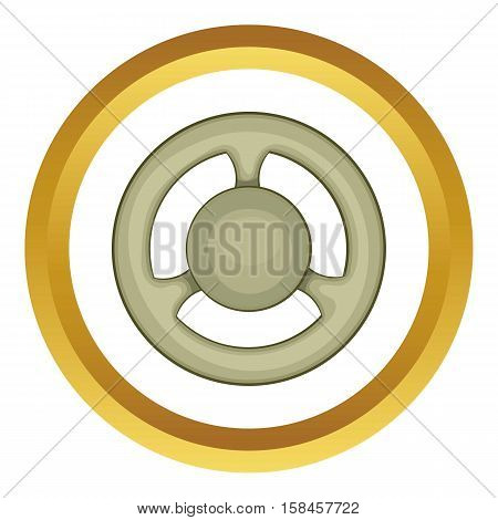 Steering wheel vector icon in golden circle, cartoon style isolated on white background
