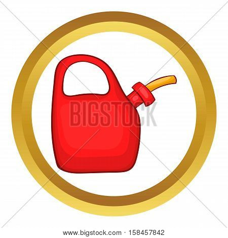 Red oiler vector icon in golden circle, cartoon style isolated on white background