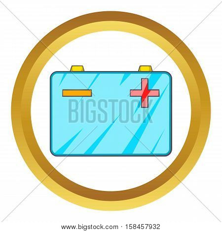 Car battery vector icon in golden circle, cartoon style isolated on white background