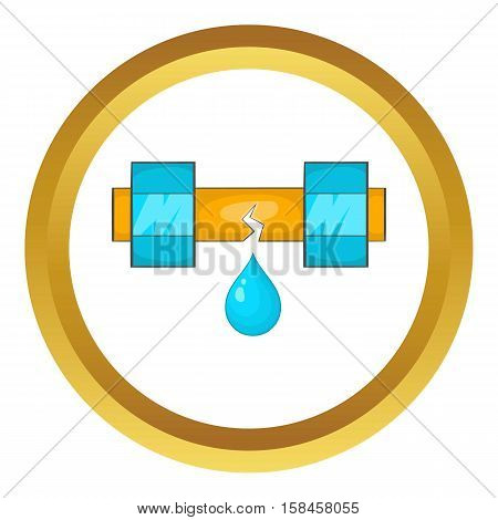 Dripping water pipe vector icon in golden circle, cartoon style isolated on white background