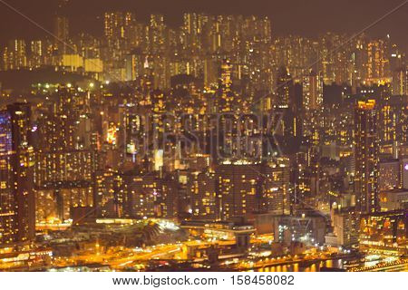 Blurred lights Hong Kong crowd residence area night view