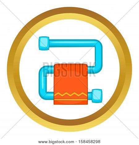 Heated towel rail with orange towel vector icon in golden circle, cartoon style isolated on white background