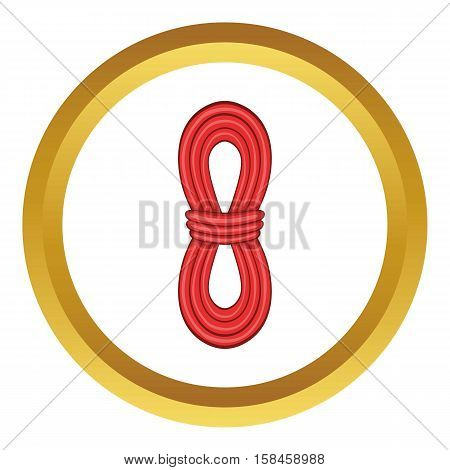 Red rope vector icon in golden circle, cartoon style isolated on white background