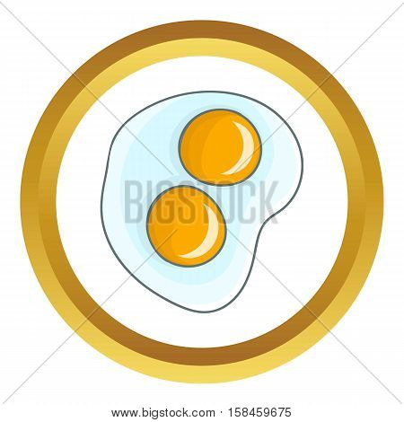 Fried eggs vector icon in golden circle, cartoon style isolated on white background