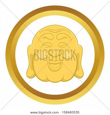 Budha head vector icon in golden circle, cartoon style isolated on white background