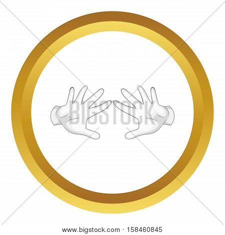 Magician hands in white gloves vector icon in golden circle, cartoon style isolated on white background