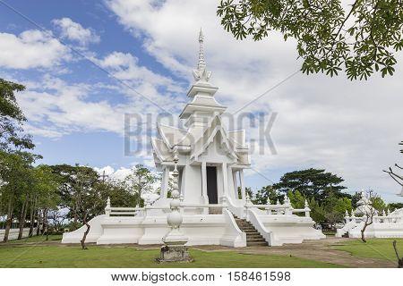 Famous white temple Wat Rong Khun Chiang Rai province northern Thailand/ Chiang Rai province northern Thailand - November 132016 : White temple Wat Rong Khun