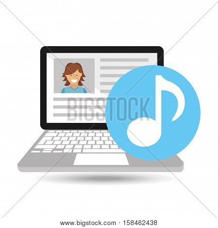 laptop social profile music icon vector illustration eps 10