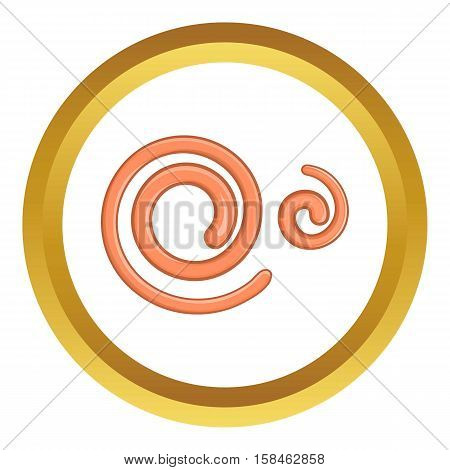 Parasitic nematode worms vector icon in golden circle, cartoon style isolated on white background