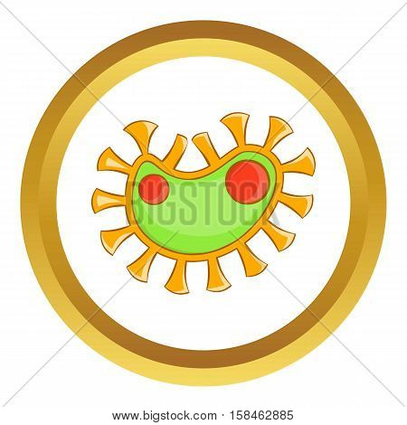 Virus vector icon in golden circle, cartoon style isolated on white background