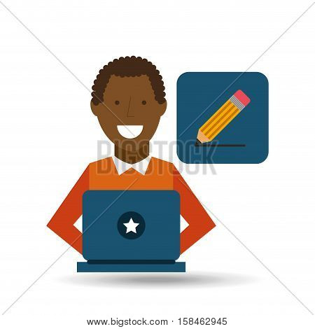 man afroamerican using laptop write media icon vector illustration eps 10