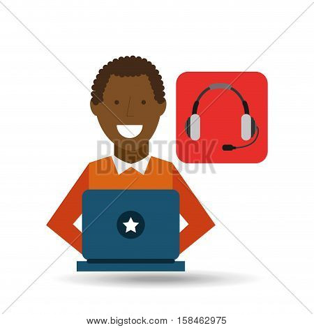man afroamerican using laptop heatset media icon vector illustration eps 10