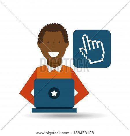 man afroamerican using laptop cursor media icon vector illustration eps 10