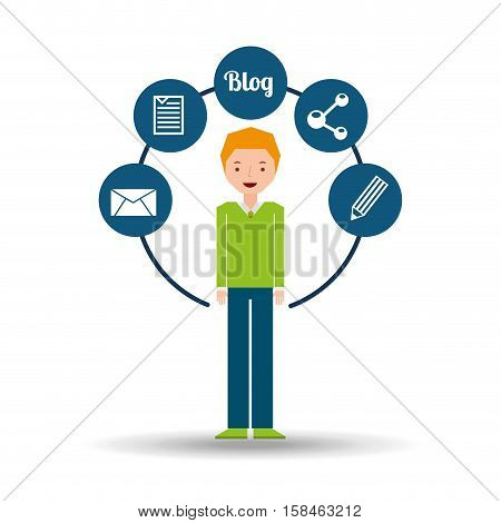 man green sweater standing with social network icon vector illustration eps 10