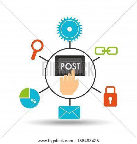 post technology social media concept vector illustration eps 10