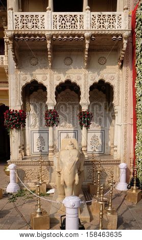 JAIPUR, INDIA - FEBRUARY 16: Elephant statue at the City Palace, a palace complex in Jaipur, Rajasthan, India. It was the seat of the Maharaja of Jaipur, the head of the Kachwaha Rajput clan.