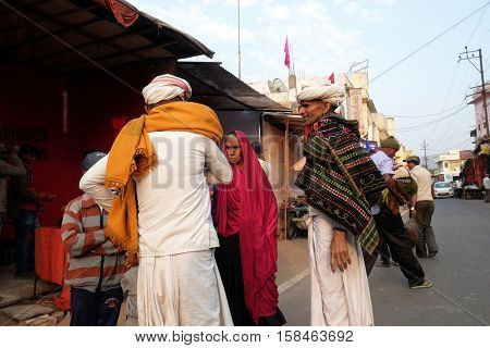 PUSHKAR, INDIA - FEBRUARY 17: Unidentified Rajasthani men wearing traditional turban in the sacred town of Pushkar, Rajasthan, India on February 17, 2016.
