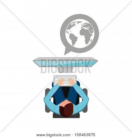 man working computer globe media design vector illustration eps 10