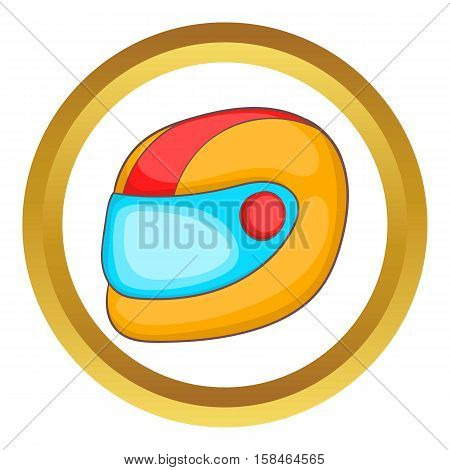 Racing helmet vector icon in golden circle, cartoon style isolated on white background